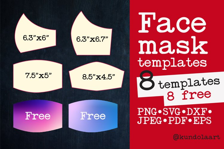 Face Mask Template SVG, PNG. BONUS