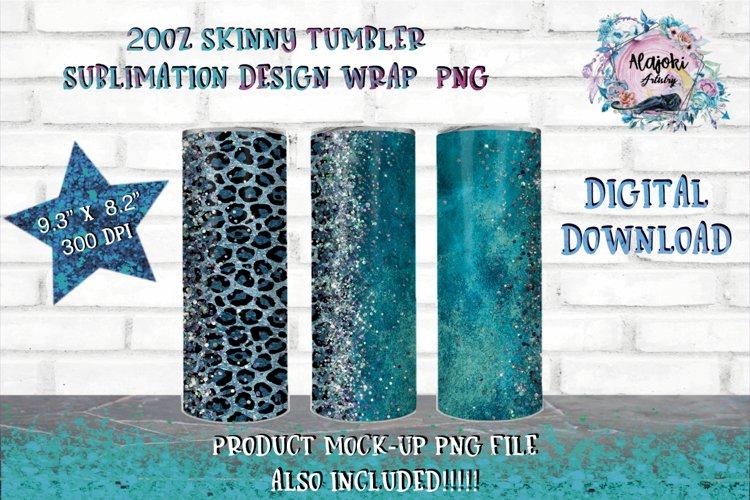 Sublimation Tumbler   Sublimation Design PNG   Blue leopard