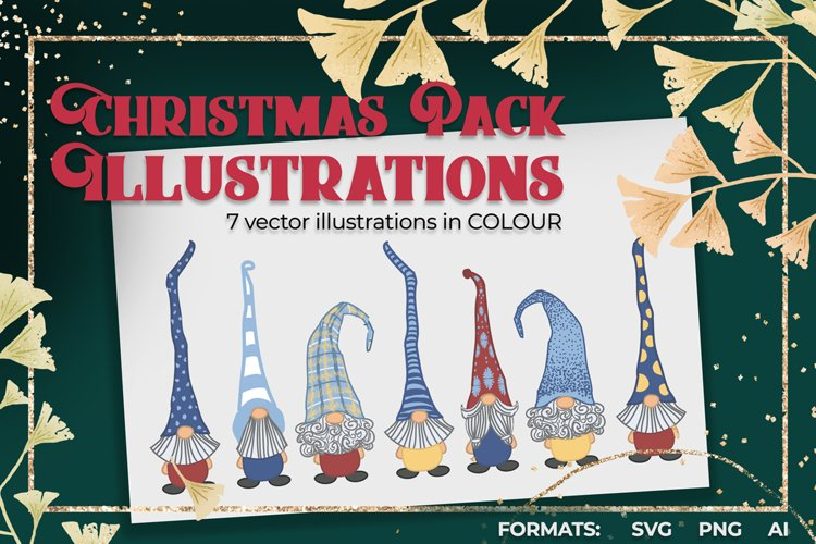 Christmas Pack Gnomes - 7 vector illustrations COLOUR
