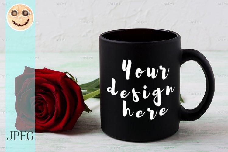 Black coffee mug mockup with red rose example image 1