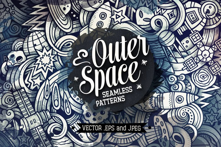 Space Graphics Doodle Patterns example image 1
