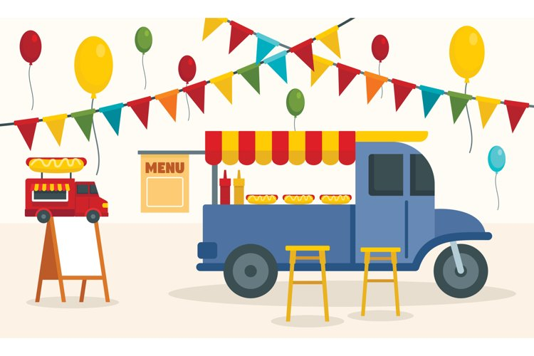 Street food truck concept background, flat style example image 1