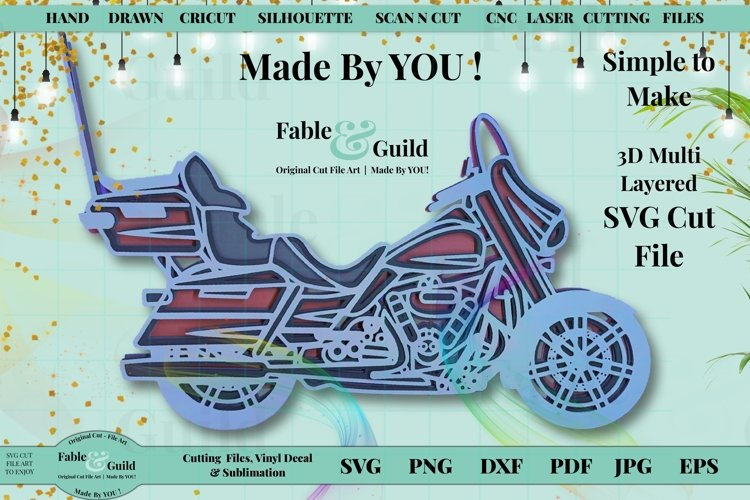 Motorbike Motorcycle 3d Layered cut file for Cricut ScanNCut