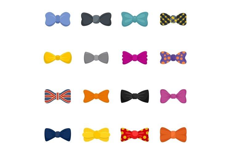 Bowtie ribbon man tuxedo icons set, flat style example image 1