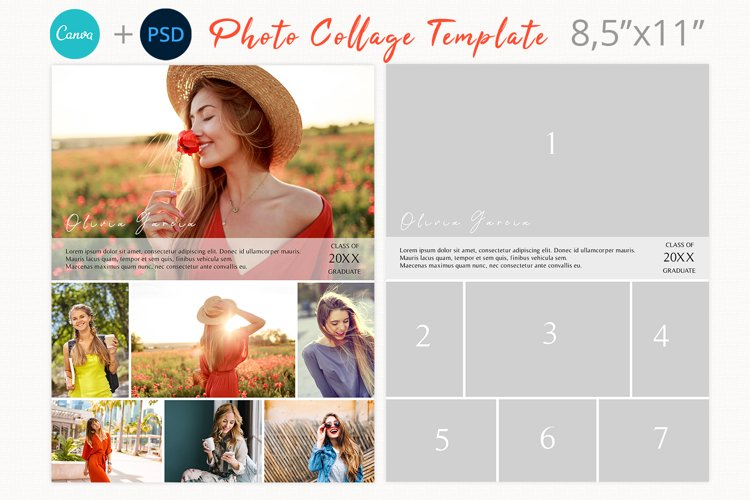 Yearbook Ad Collage Template, Letter size photography