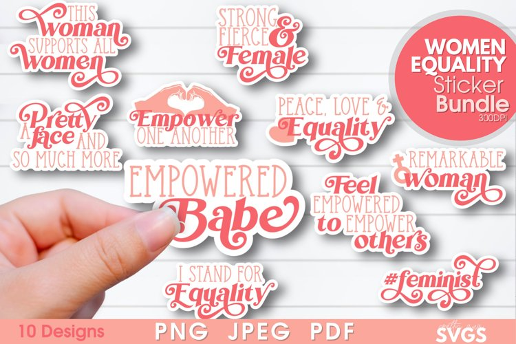 Women Equality Sticker Bundle | PNG Printable Sticker Pack example image 1