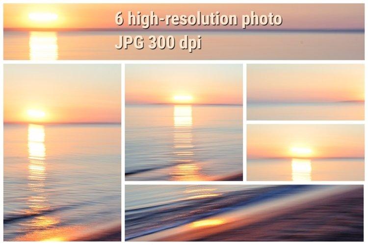 Silk sunrise at the sea, set of 6 art photo