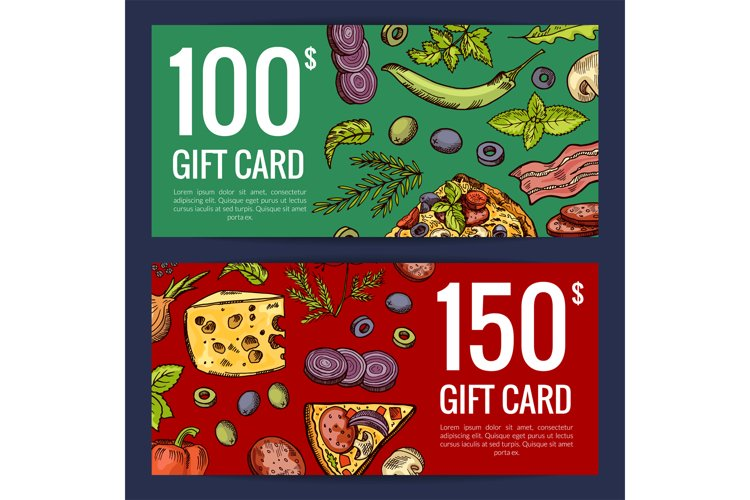Vector pizza restaurant or shop giftcard or discount templat example image 1