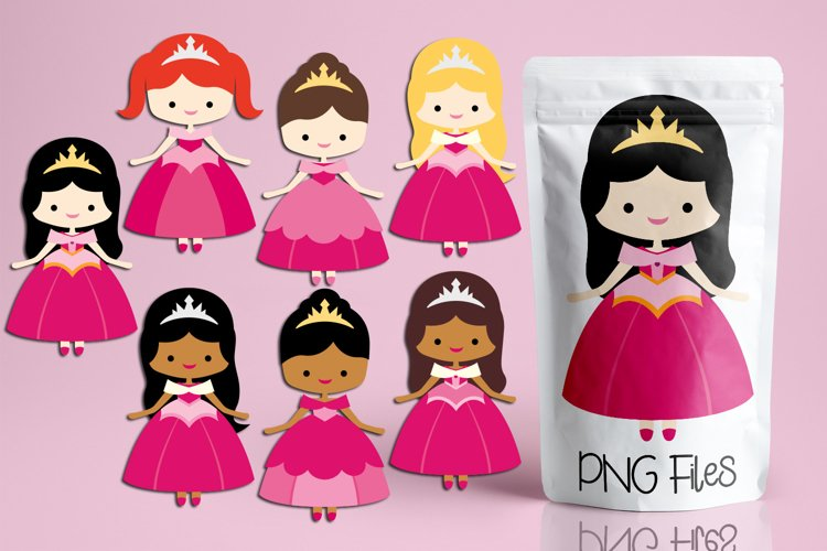 Valentine illustrations - Princess in Pink Dress