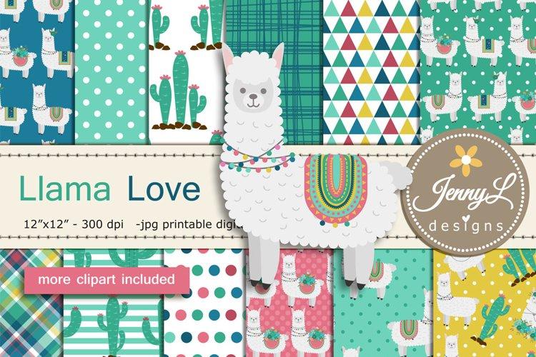 Llama Alpaca Digital Papers and Cactus Clipart SET