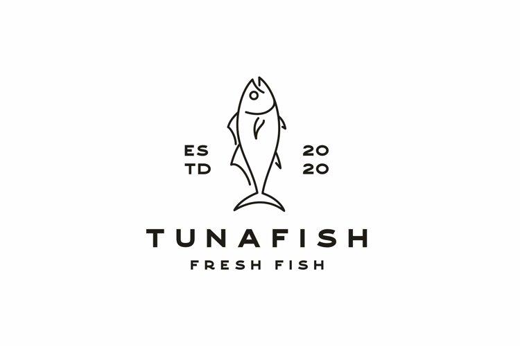 Monoline Tuna Logo Design Vector example image 1