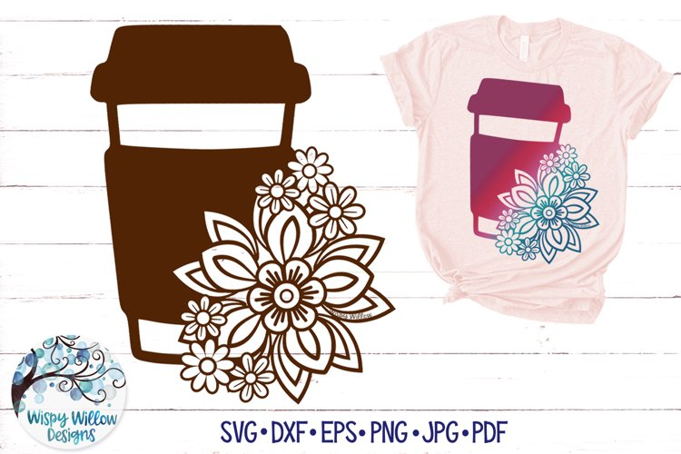 Floral Coffee SVG | Coffee Cup with Flowers SVG example image 1