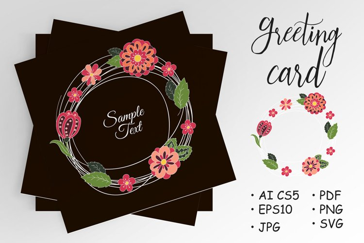 Doodle cover, postcard. Round doodle branches with flowers example image 1