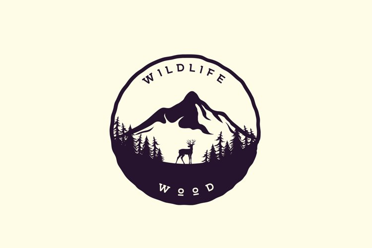 Mountain Forest with Deer Silhouette, Adventure Logo Design example image 1