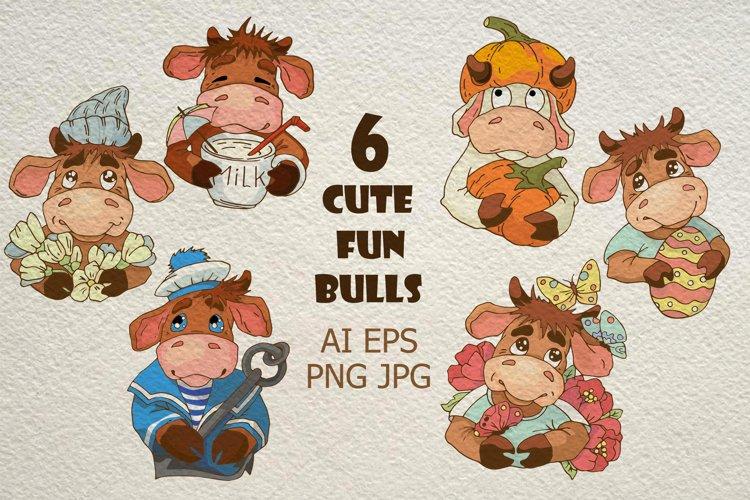 Illustrations of characters. Set of funny cartoon bulls.
