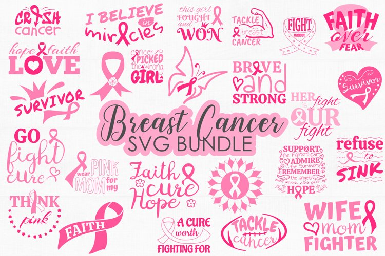 Breast Cancer SVG Bundle, Cancer Awareness SVG cut files