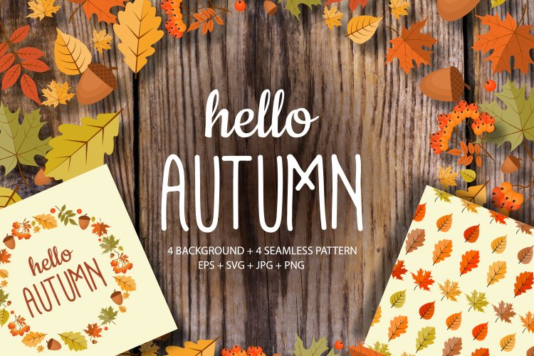 Hello Autumn Natural Background and seamless pattern set example image 1