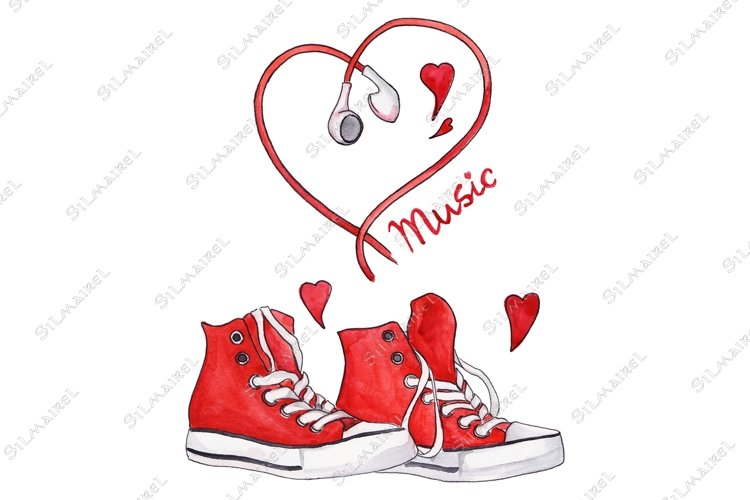 Watercolor red sneakers heart shaped earphones love music example image 1