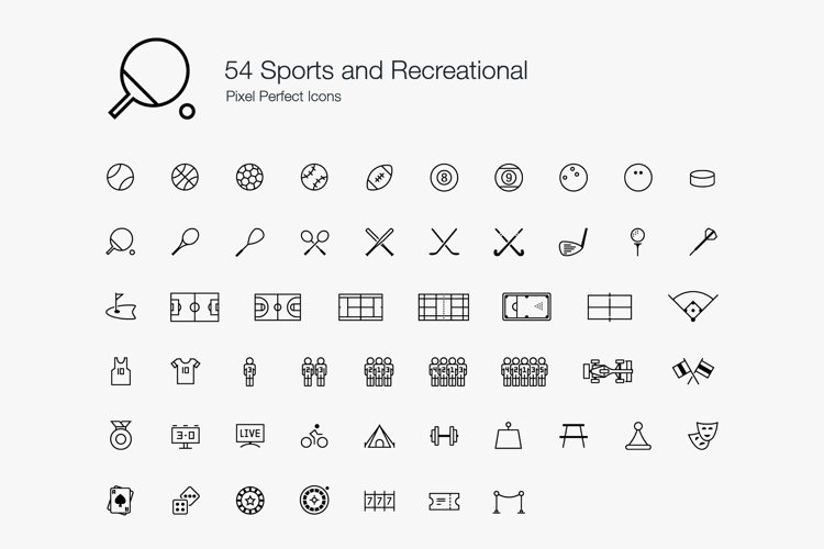 Sports Athlete Games Recreational Pixel Perfect Icons