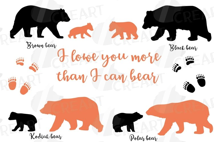 Baby and mama bear nursery clip art collection, bears print example image 1