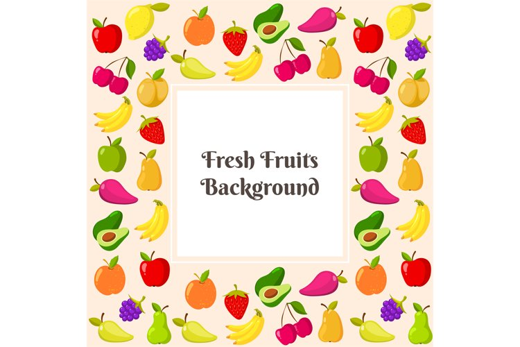 Vector template with fruit frame example image 1