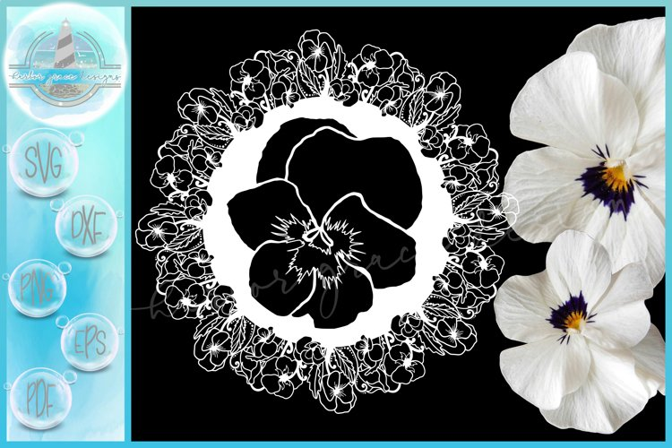 Pansies Pansy Flower Floral Mandala Zentangle SVG example image 1