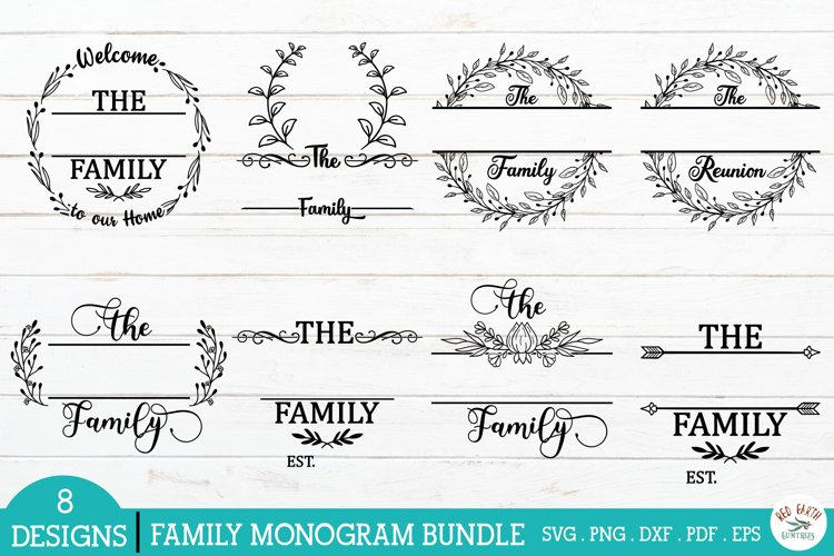 Family monogram frames bundle SVG,family split monogram SVG