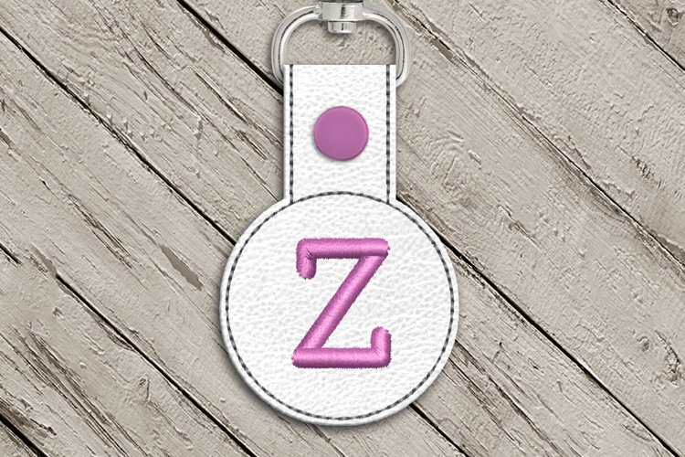Letter Z Round ITH Key Fob In the Hoop Embroidery Design