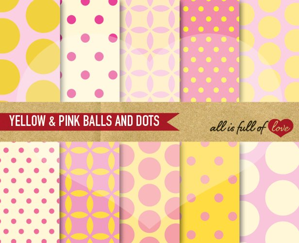Yellow and Pink Digital Paper Dotted Scrapbook Background Patterns example image 1