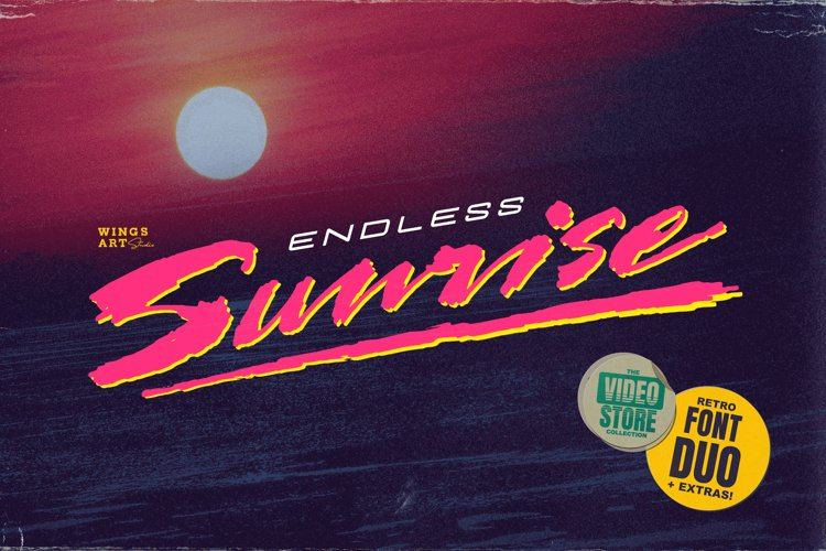 Endless Sunrise - A Sun-kissed 80s Inspired Script Font Duo example image 1