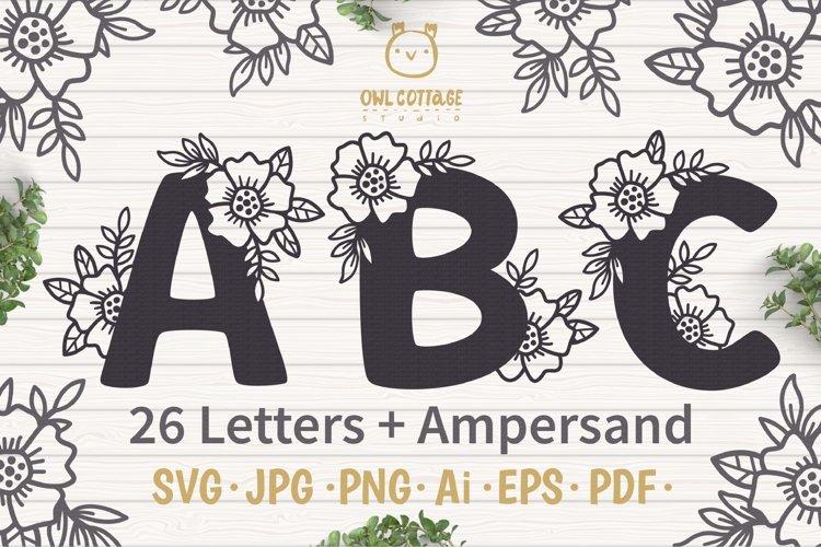 Floral alphabet svg, Floral Monogram letters Bundle, Wedding example image 1