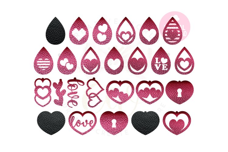 Valentine Love Earring Template |50 Templates Earring svg