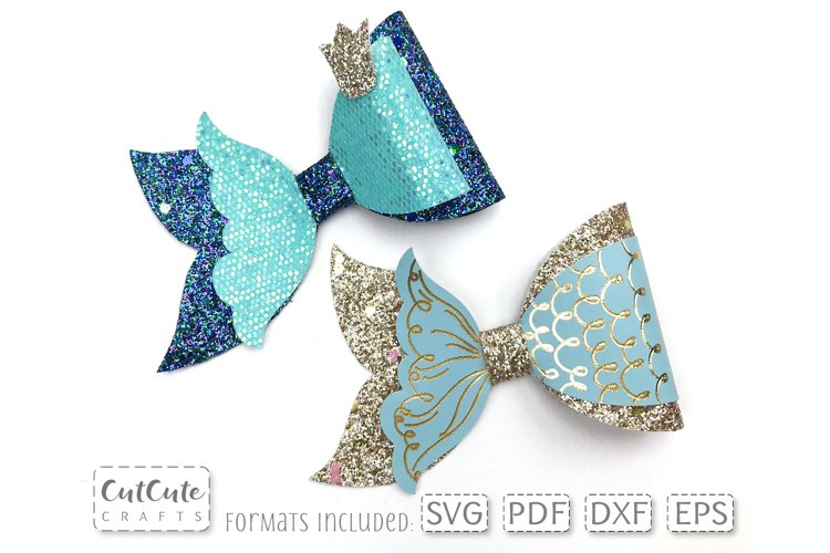 Princess Mermaid Bow SVG cut files, Hair Bow template