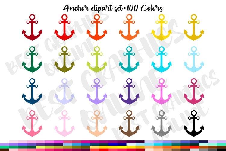 100 Anchor clipart, Nautical anchor ship navy clip art set