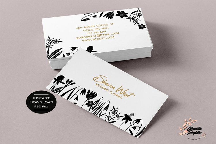 Floral Business Cards, Business Card Template example image 1