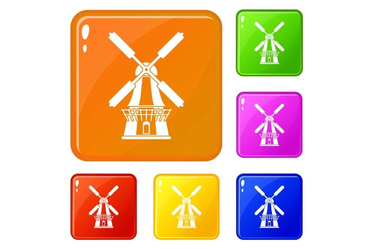 Windmill icons set vector color example image 1