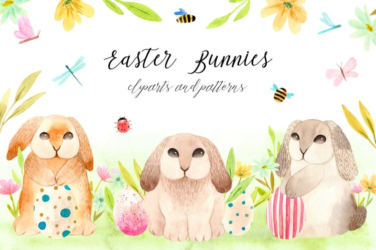 Spring Watercolor Easter Bunnies. Patterns and cliparts example image 1