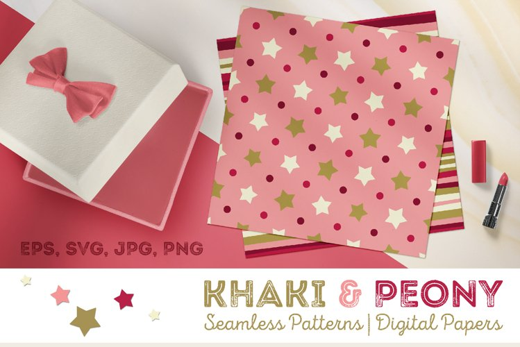 Khaki & Peony Patterns | Seamless Digital Papers example image 1