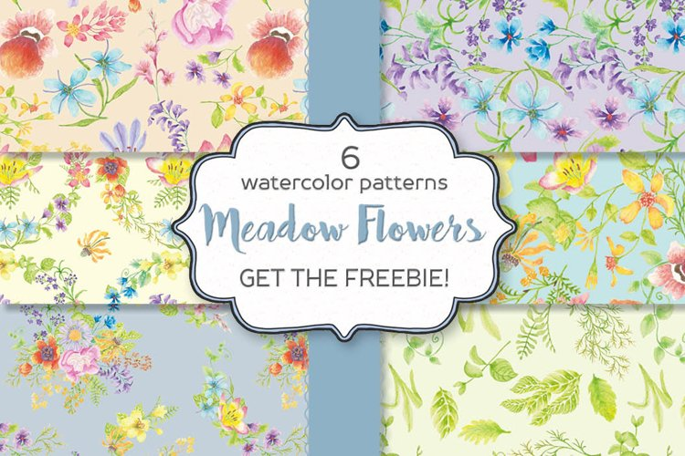 Set of 6 watercolor patterns - Meadow Flowers