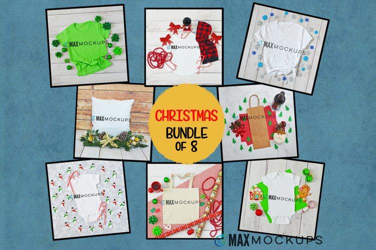 Christmas Mockup bundle, shirt baby kid tote pillow wine bag