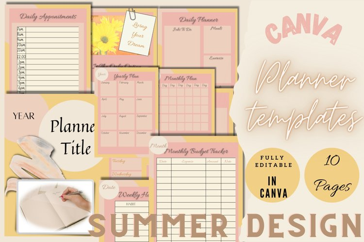 Canva Editable Planner Template Summer Theme