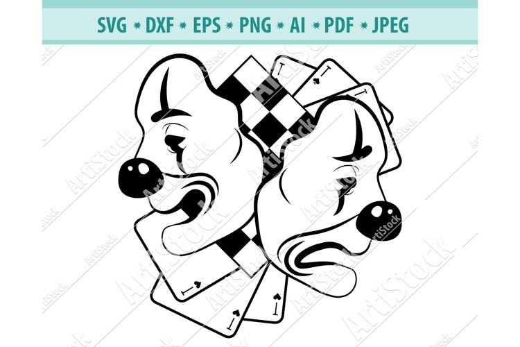 Comedy Tragedy svg, Theatrical mask Png, Theater Dxf, Eps example image 1