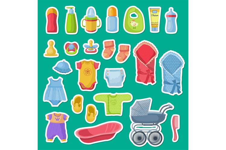 Vector baby accessories stickers isolated on blue background example image 1