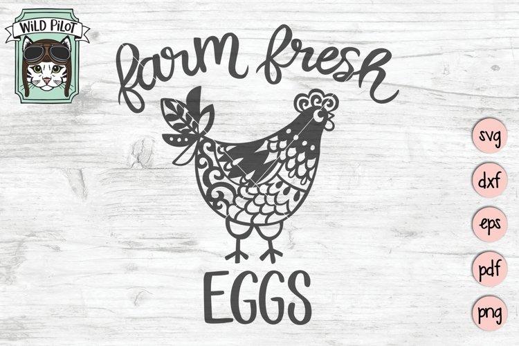Chicken SVG Cut File, Farm Fresh Eggs Sign SVG, Kitchen SVG
