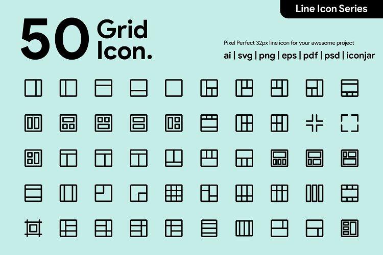 50 Grid Line Icon example image 1