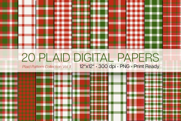 20 Christmas Plaid Digital Papers