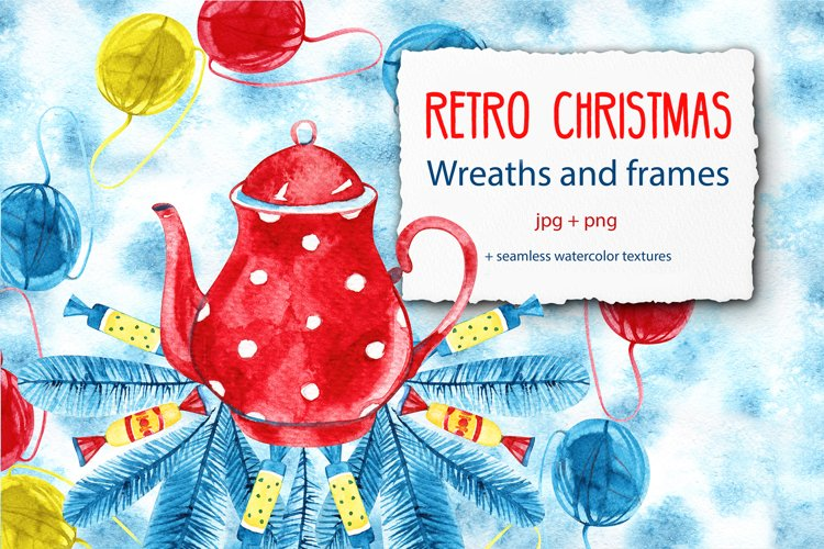 Retro Christmas wreaths and frames example image 1