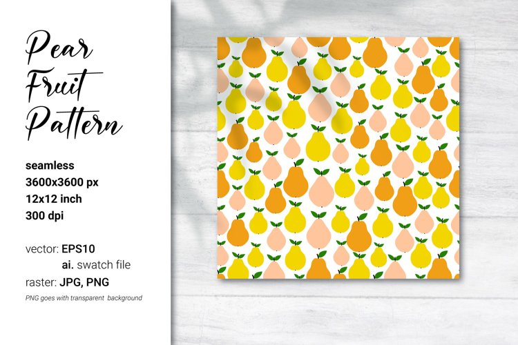 Pear pattern. Pear fruit patterns. Seamless. Vector.
