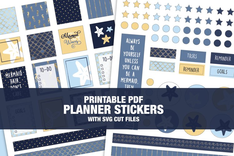 Mermaid Theme Planner Stickers With CUT FILES example image 1