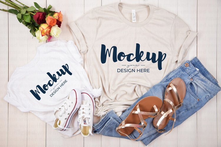 Mommy and Me Casual Shirt Mockup, White, Beige example image 1